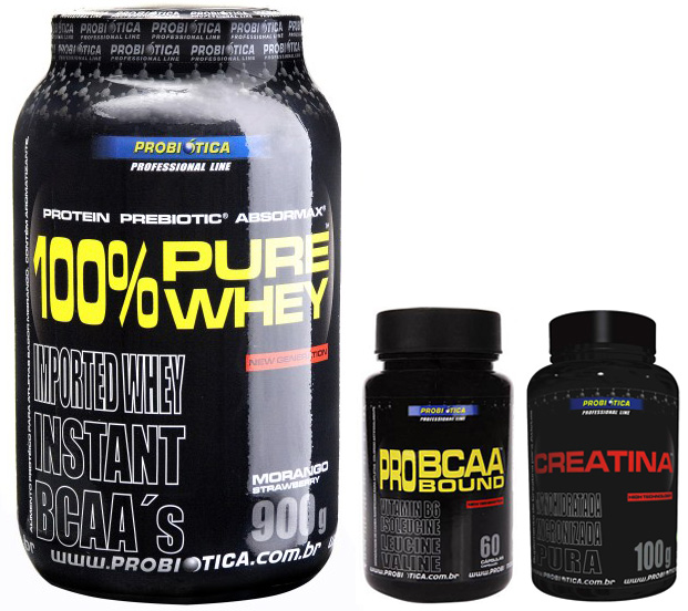Kit 100% Pure Whey, BCAA e Creatina Probiótica