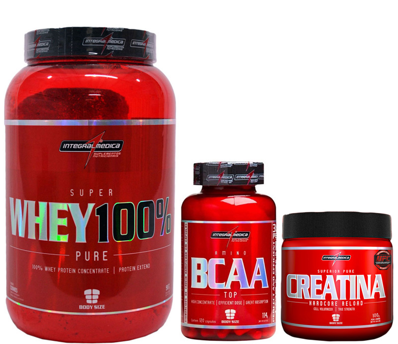 Kit Super Whey 100% Pure (900g) + BCAA Top (120caps) + Creatina (100g)